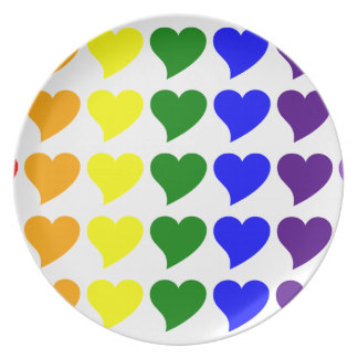 Romantic Gifts for Girls A Rainbow of Hearts Plate