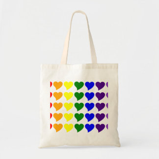 Romantic Gifts for Girls : A Rainbow of Hearts Tote Bag