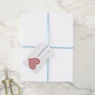 Romantic Gingham Heart and Red Rose Gift Tags Pack Of Gift Tags