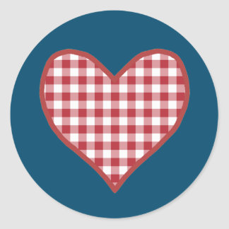 Romantic Gingham Heart Sheet of 20 Stickers