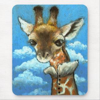 Romantic giraffe mouse pad