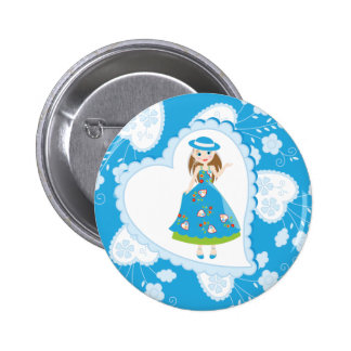 Romantic girl birthday party 2 inch round button