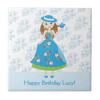 Romantic girl birthday party ceramic tile