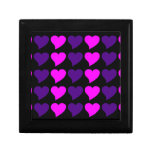 Romantic Girls Gifts : Pink Purple Hearts Stripes Trinket Boxes