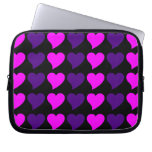 Romantic Girls Gifts : Pink Purple Hearts Stripes Laptop Sleeves