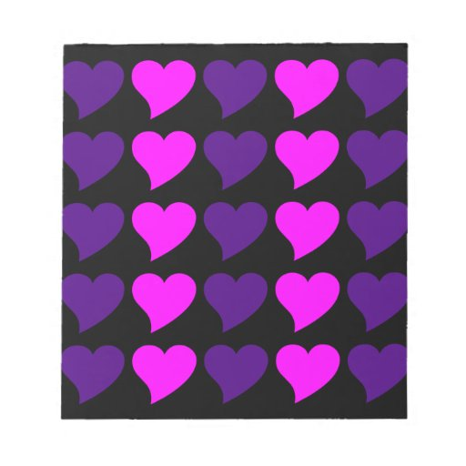 Romantic Girls Gifts : Pink Purple Hearts Stripes Note Pads