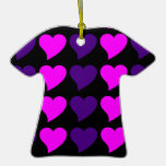 Romantic Girls Gifts : Pink Purple Hearts Stripes Christmas Ornaments