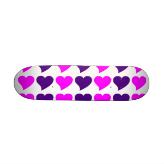 Romantic Girls Gifts : Pink Purple Hearts Stripes Skate Deck