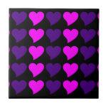 Romantic Girls Gifts : Pink Purple Hearts Stripes Ceramic Tile
