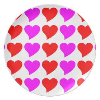 Romantic Girls Gifts Pink red Love Hearts Party Plate