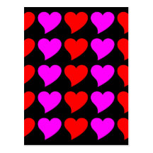 Romantic Girls Gifts : Pink & red Love Hearts Postcards
