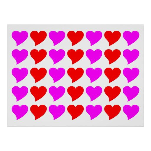 Romantic Girls Gifts : Pink & red Love Hearts Poster
