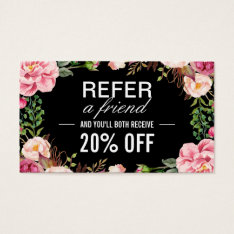 Romantic Girly Floral Wrapping Referral Card at Zazzle