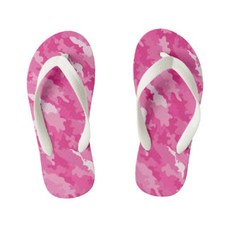 Romantic girly style camouflage pink pattern kid's flip flops