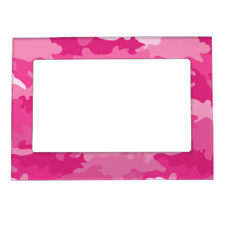 Romantic girly style camouflage pink pattern magnetic photo frame