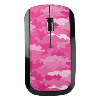 Romantic girly style camouflage pink pattern wireless mouse