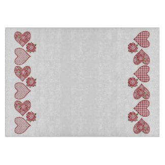 Romantic Glass Cutting Board: Hearts and Red Roses