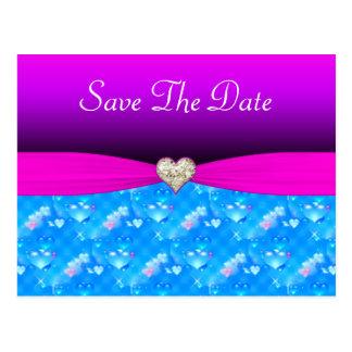 Romantic Glass Hearts Vivid Pink Sparkle Wedding Postcard