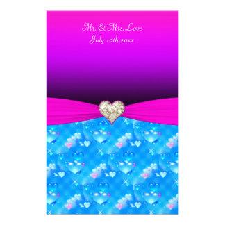 Romantic Glass Hearts Vivid Pink Sparkle Wedding Stationery