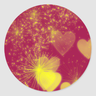 Romantic Glowing Hearts and Sparkle Classic Round Sticker