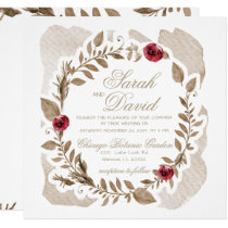 Romantic Gold and Burgundy Floral Wedding Card