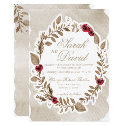 Romantic Gold and Burgundy Floral Wedding Invitations