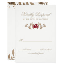 Romantic Gold and Burgundy Floral Wedding RSVP Card