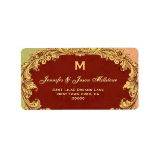Romantic Gold and Sienna Vintage Monogram Label