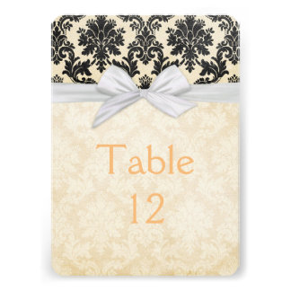 Romantic Gold Blush Damask Table card