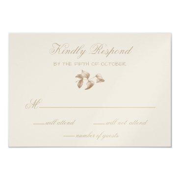 Romantic Gold Botanical Wedding RSVP Card