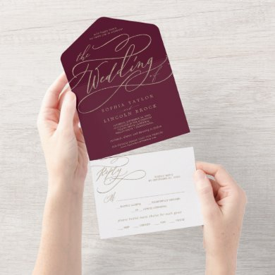 Romantic Gold Calligraphy Burgundy The Wedding Of  All In One Invitation