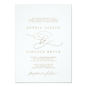 Gold Foil Wedding Invitations Calligraphy