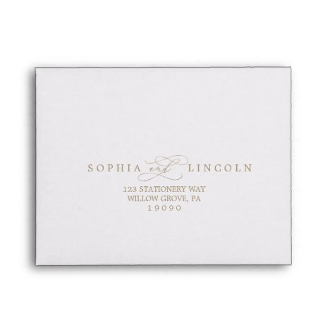 Romantic Gold Calligraphy RSVP Envelope