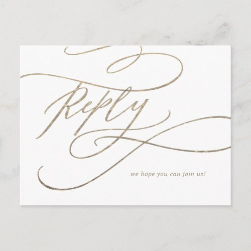 Romantic Gold Calligraphy Song Request RSVP Invitation Postcard