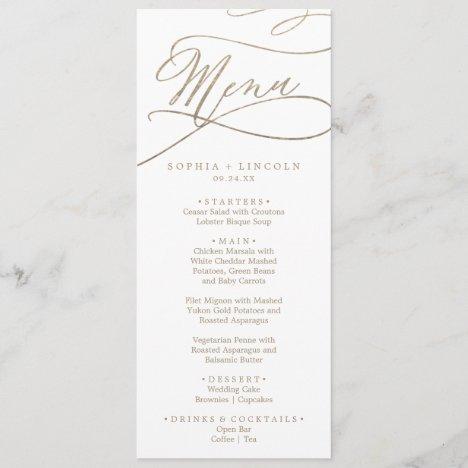 Romantic Gold Calligraphy Wedding Dinner Menu