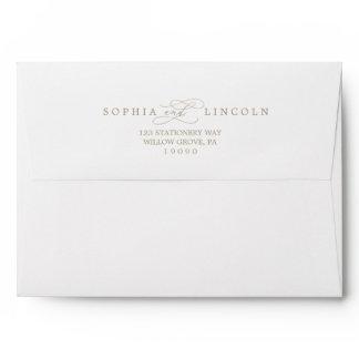 Romantic Gold Calligraphy Wedding Invitation Envelope