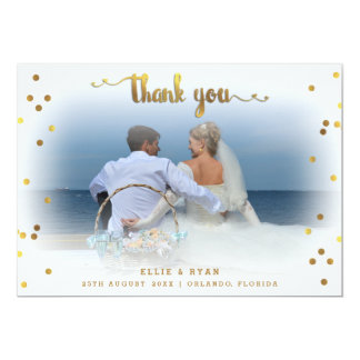 Romantic Gold Confetti Thank You Wedding Photo Card