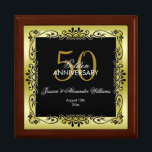 "Romantic Gold Decorative Framed 50th Wedding Gift Box<br><div class=""desc"">Beautiful, glamorous trendy, modern, romantic and sophisticated design for couple&#39;s 50th wedding anniversary. Elegant and glamorous fifty years anniversary. With a glamorous background printed image of a pretty gold colored gradient background with the same image rotated on top to give a great contrast. A delightful decorative border frame in black...</div>"