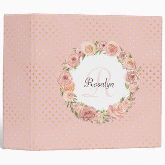 Romantic Gold Dotted Rose Floral Monogrammed Name 3 Ring Binder