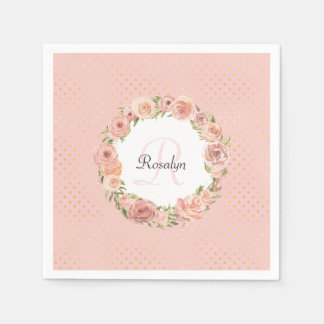 Romantic Gold Dotted Rose Floral Monogrammed Name Paper Napkin
