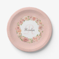 Romantic Gold Dotted Rose Floral Monogrammed Name Paper Plate