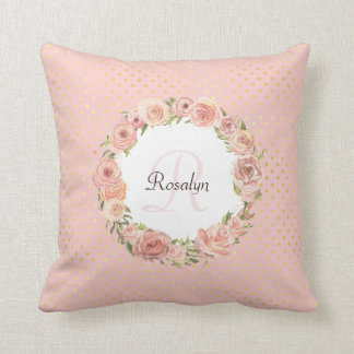 Romantic Gold Dotted Rose Floral Monogrammed Name Throw Pillow