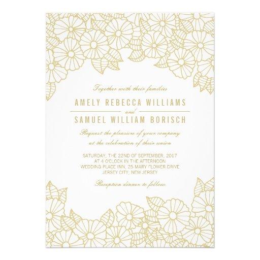 Romantic Gold Flowers on White Wedding Invitation Card