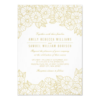 Romantic Gold Flowers on White Wedding Invitation