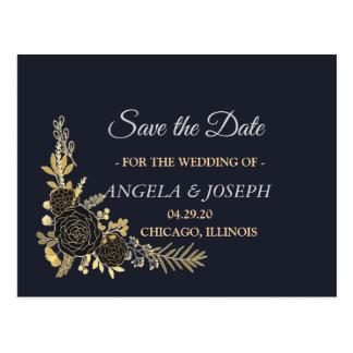 Romantic golden Floral Navy Blue  Save the Date Postcard