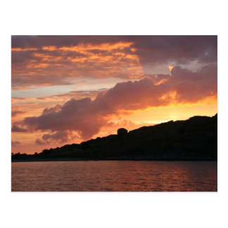 Romantic golden sunset postcard