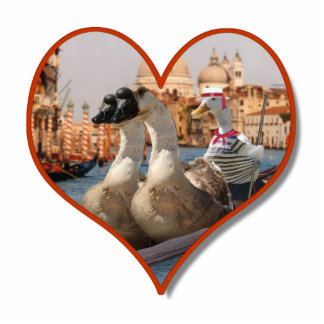 Romantic Gondola Ride for Two Geese Standing Photo Sculpture