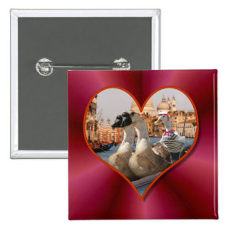 Romantic Gondola Ride w/ Red Satin Background Button