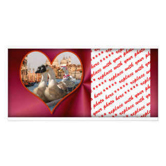 Romantic Gondola Ride w/ Red Satin Background Photo Card