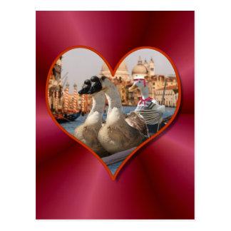 Romantic Gondola Ride w/ Red Satin Background Postcard